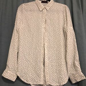 White Button Up Blouse with Black Squares